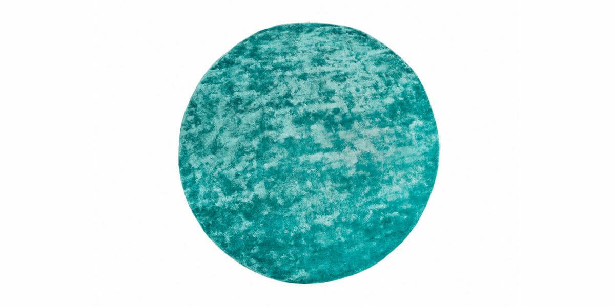 Bretz Teppich Viscose Solid P 153VS rund in aquamarin