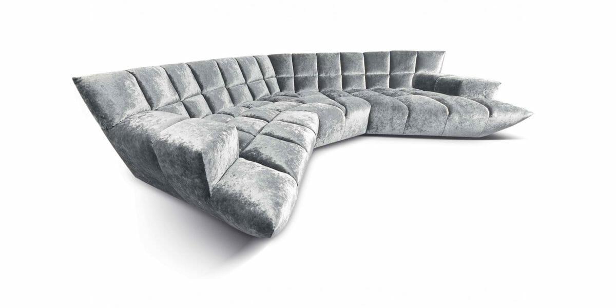 Bretz Sofa Cloud 7 Z154 in Silberschimmer Bezug