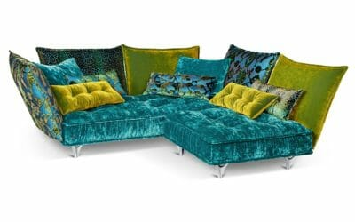 Bretz Sofa Ohlinda M118re in lagoon blue/midsummer oliv/arabesk türkis