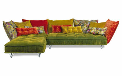 Bretz Sofa Ohlinda Z118 in Midsummer oliv-Gobelin mix Bezug