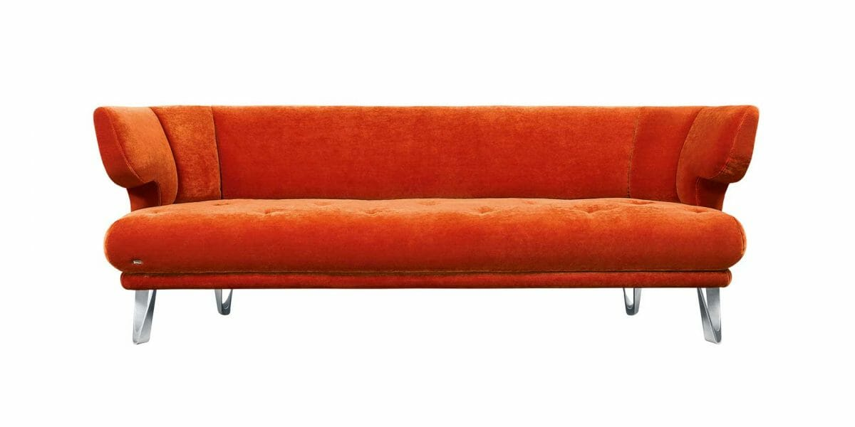 Croissant F113 Sofa von Bretz in kupfer rot