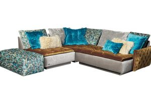 Filousof Sofa CE T S Vre 112 in austernpilz / stardust / elefant / enzian mix