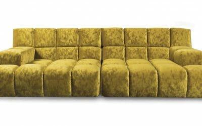 Bretz Sofa Ocean 7 G158 (Uli+Ure) in Velvet gold Bezug