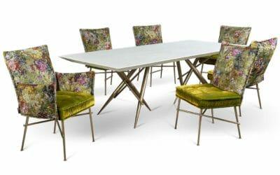Bretz Essgruppe Ohlinda in White Stone mit Stühlen in Gobelin / Midsummer Bezug