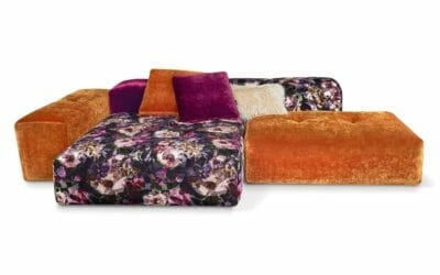 Bretz Drop City Sofa 110 (Set 2.5) in purple haze