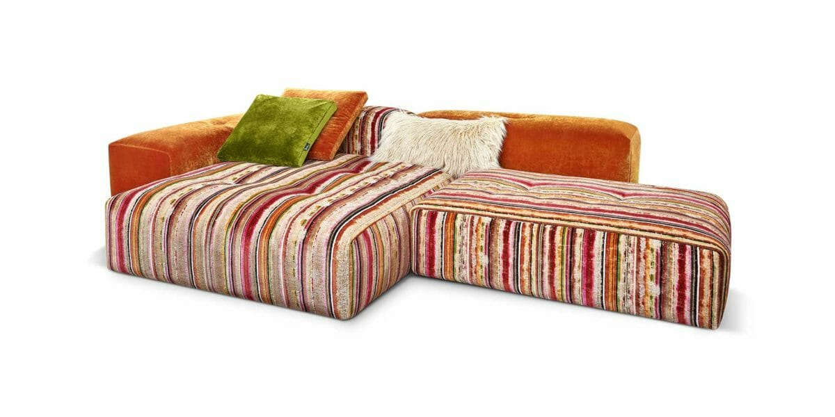 Bretz Drop City Sofa - Wohnlandschaft 110 (Set 2.2) in orange/grün/pink