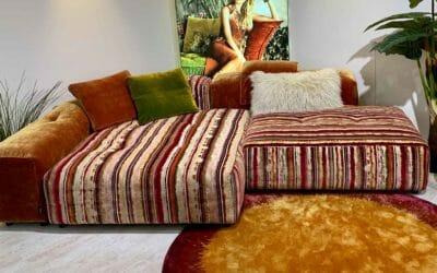 Bretz Sofa Drop City Set 2.2 in orange-grün-pink Bezug als Ausstellungsstück
