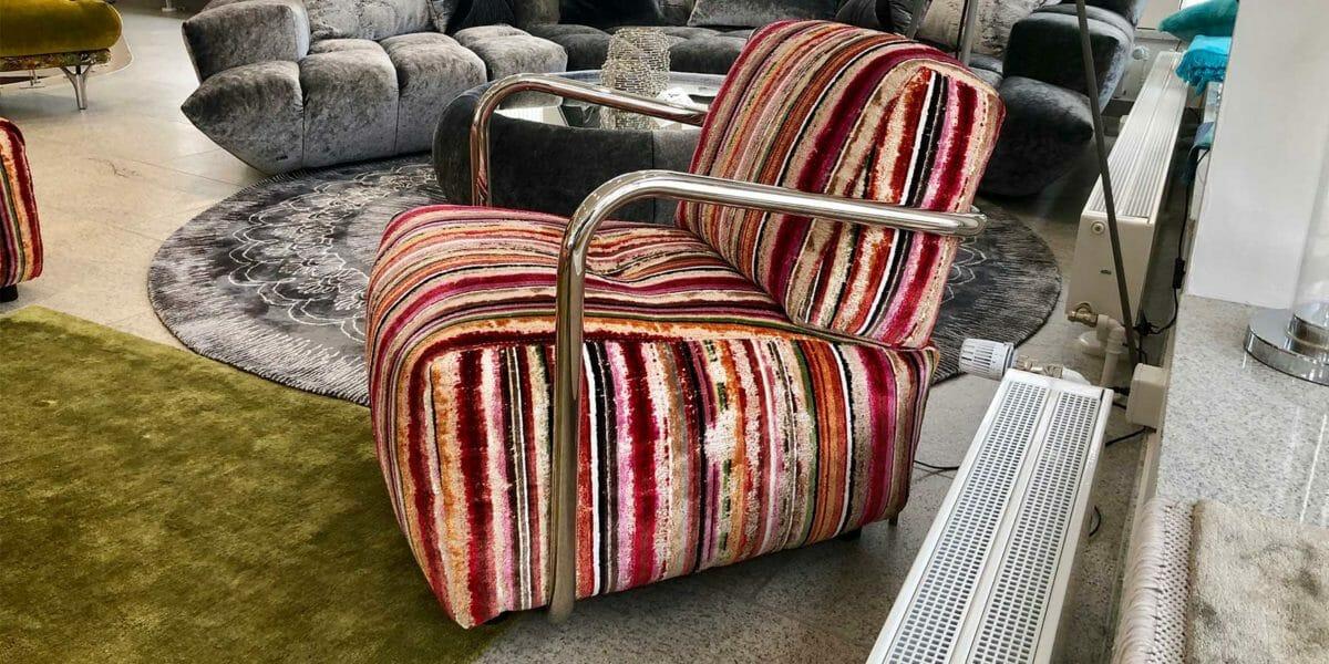 Bretz Sofa DropCity Sessel B110 als Ausstellungsstück in orange-grün-pink