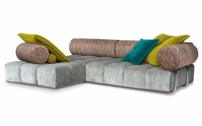 Bretz Ecksofa ED H109LI mit Ottomane in Feather grey/mikado Bezug