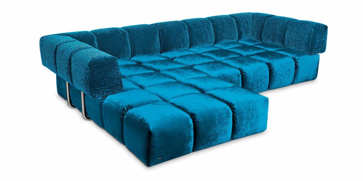 Bretz Sofa Edgy Z107LI mit Ottomane links in Enzianblau/blue drops Bezug