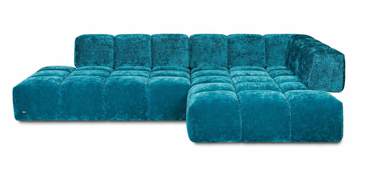 Bretz Sofa Edgy Y107 mit Ottomane (rechts) in Amalfi/blue moss Bezug