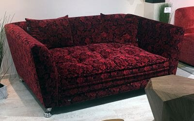 Bretz Monster Bettsofa Q 183 in Rosenrot Bezug