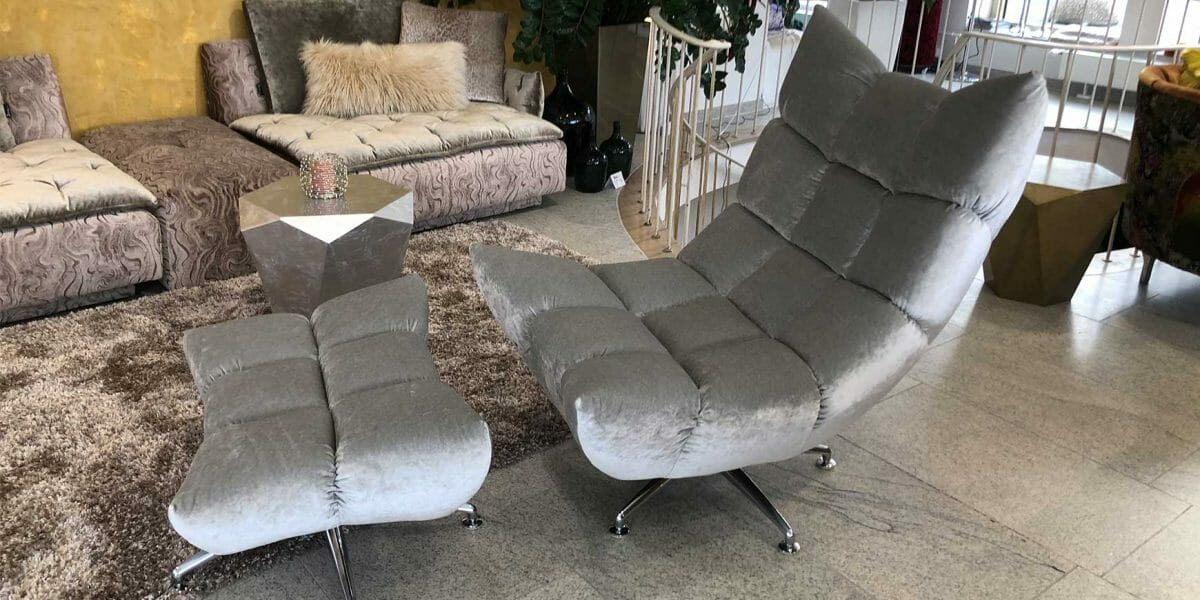 Bretz Hangout Drehsessel B 122 in silver nugget Bezug