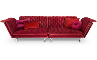 Bretz Pliée Sofa Uli-Ure 115 in cranberry