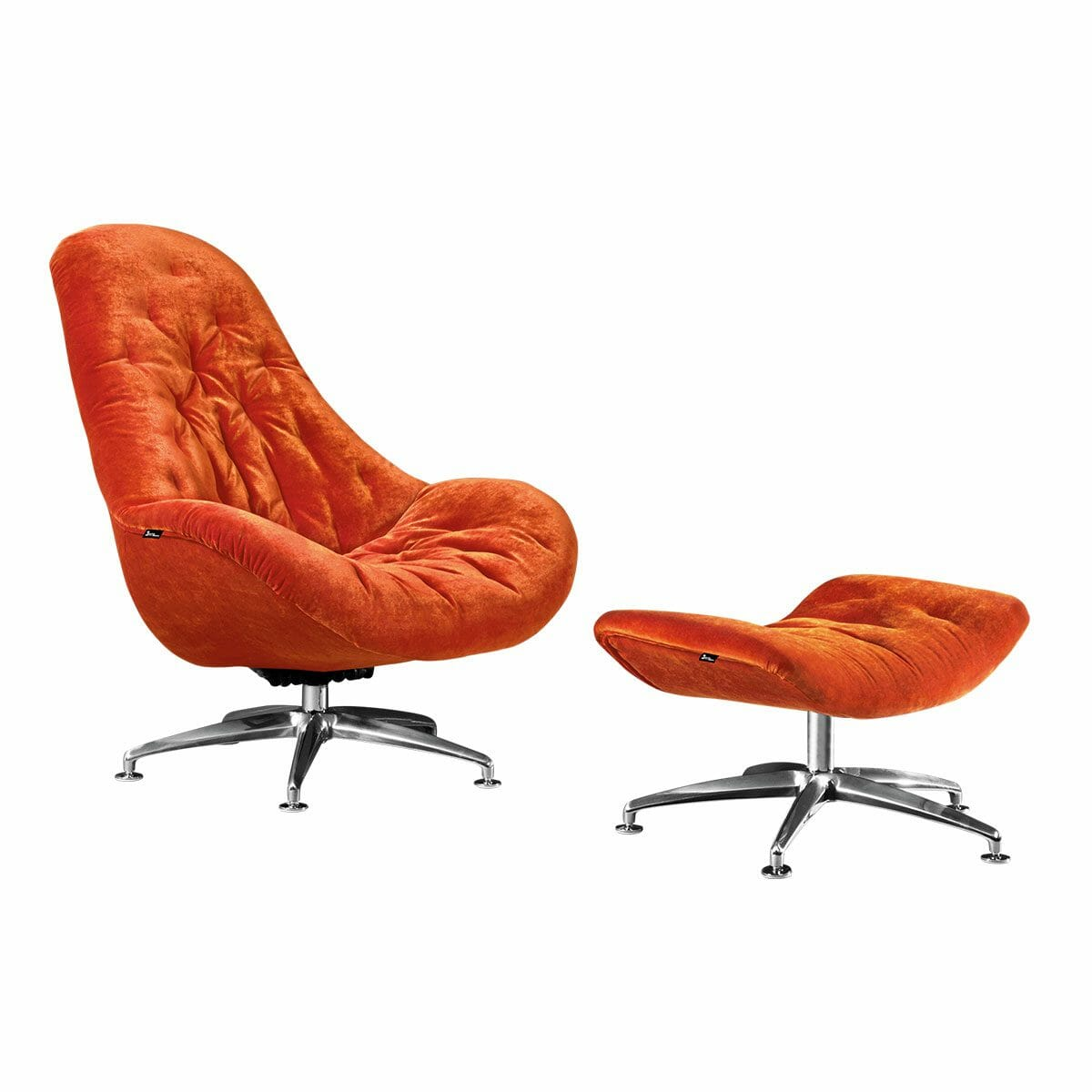 Bretz Drehsessel MATILDA B116 inkl. Hocker in kupfer-orange