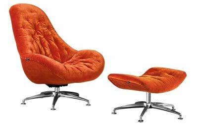 Bretz Drehsessel MATILDA B116 inkl. Hocker in kupfer-orange