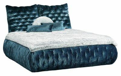 Bretz Bett FEYA W130 in blau-silber